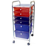 Storage Studios - Home Center Rolling Cart - 6 Drawers - Multi