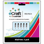Craftwell - eCraft - 12 Inch Electronic Cutting System - Pen Set - 5 Pack - Black