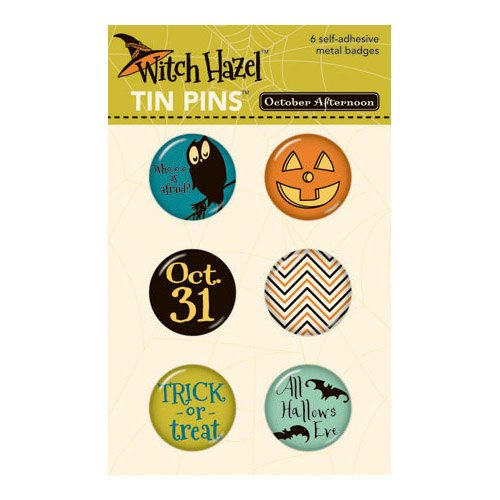 October Afternoon - Witch Hazel Collection - Halloween - Tin Pins - Self Adhesive Metal Badges