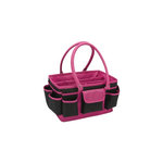 Mackinac Moon - Open Top Craft Tote - Black and Pink Dots