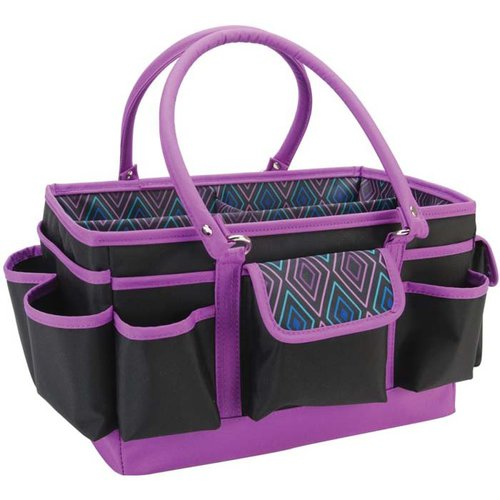 Mackinac Moon - Open Top Craft Tote - Black with Multi Geometric