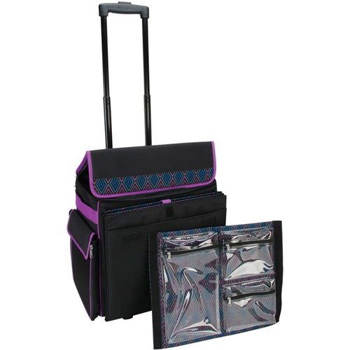 Mackinac Moon - Deluxe Rolling Tote - Black with Multi Geometric