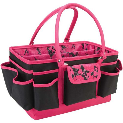 Mackinac Moon - Open Top Craft Tote - Black With Pink Floral