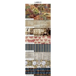 Coats - Tim Holtz - Eclectic Elements - 9 x 21 Inch Fat Eighth - 8 Pieces - Labels