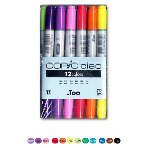 Too Corporation - Copic Ciao - Basic Dual Tip Markers - 12 Piece Set