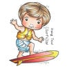 La-La Land - Cling Mounted Rubber Stamp Set - Surfing Luka