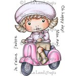 La-La Land - Cling Mounted Rubber Stamp Set - Marci On Scooter