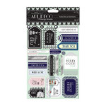 DoCrafts - Papermania - Art Deco Collection - Die Cut Cardstock Pieces with Foil Accents - Sentiments