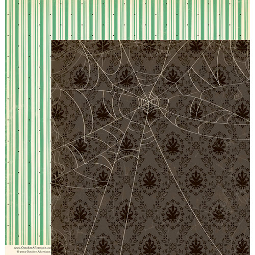 October Afternoon - Witch Hazel Collection - Halloween - 12 x 12 Double Sided Paper - Spider's Silk