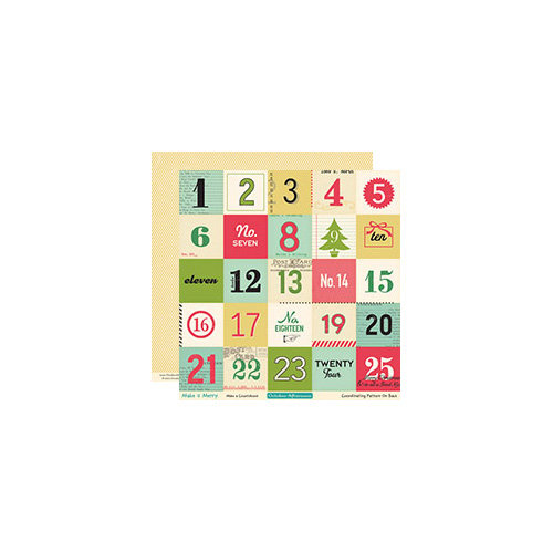 October Afternoon - Make it Merry Collection - Christmas - 12 x 12 Double Sided Paper - Make a Countdown