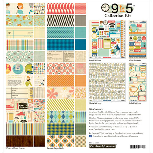 October Afternoon - 9 to 5 Collection - 12 x 12 Collection Kit