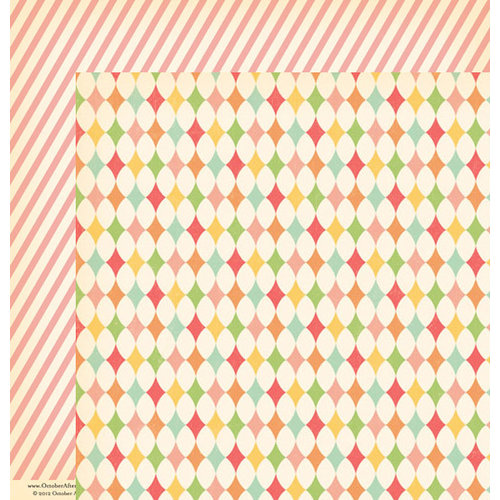 October Afternoon - Cakewalk Collection - 12 x 12 Double Sided Paper - Paper Straws