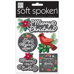 Me and My Big Ideas - Soft Spoken - Ellen Krans - 3 Dimensional Stickers with Glitter and Jewel Accents - Merry Christmas