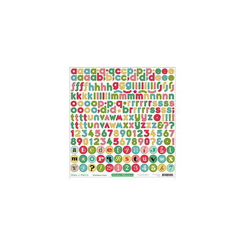 October Afternoon - Make it Merry Collection - Christmas - 12 x 12 Cardstock Stickers - Alphabet