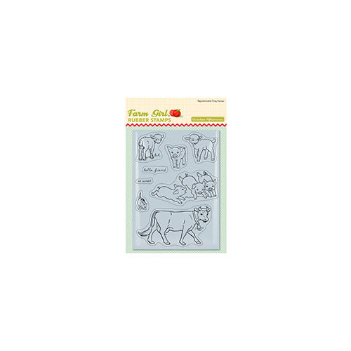 October Afternoon - Farm Girl Collection - Cling Mounted Rubber Stamps - Farmyard Friends