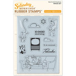 October Afternoon - Saturday Mornings Collection - Repositionable Rubber Stamps - Image