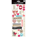 Me and My Big Ideas - MAMBI Sticks - Cardstock Stickers - Love Newsprint Sayings