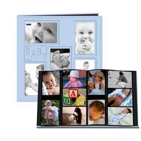 Pioneer - 12 x 12 Album - 240 4x6 Inch Photo Pockets - Embossed Sewn Leatherette Collage Frame - Baby - Blue
