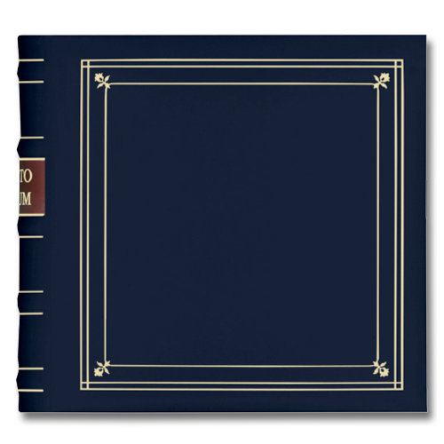 Pioneer - 2-Up Bonded Leather Album 3 Ring - 200 Pockets - Navy Blue
