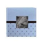 Pioneer - 2 Up Album - 200 4x6 Inch Photo Pockets - Embroidered Fabric Frame - Baby - Blue