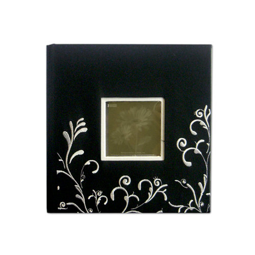 Pioneer - 2 Up Album - 200 4x6 Inch Photo Pockets - Embroidered Scroll Frame Fabric - Black and White