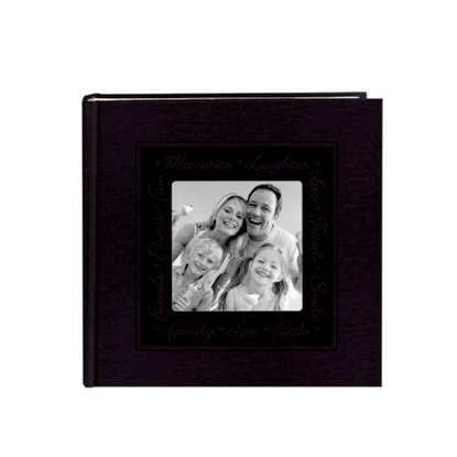 Pioneer - 2 Up Album - 200 4x6 Inch Photo Pockets - Embossed Script Leatherette Frame - Black