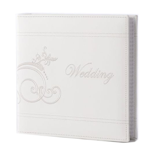 Pioneer - 2 Up Album - 200 4x6 Inch Photo Pockets - Embroidered Leatherette - Wedding - Ivory