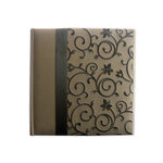 Pioneer - 2 Up Album - 200 4x6 Inch Photo Pockets - Embroidered Scroll Fabric Ribbon - Brown