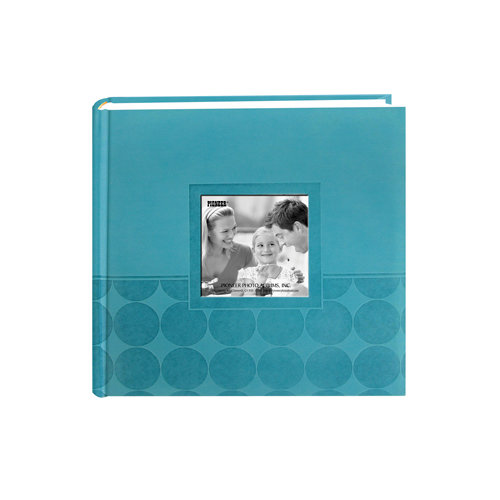 Pioneer - 2 Up Album - 200 4x6 Inch Photo Pockets - Embossed Leatherette Frame - Circles - Aqua