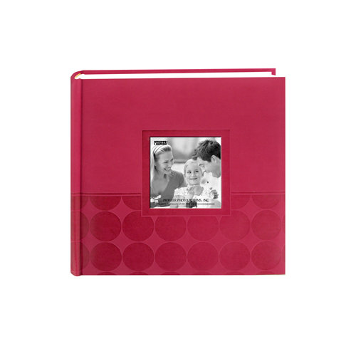 Pioneer - 2 Up Album - 200 4x6 Inch Photo Pockets - Embossed Leatherette Frame - Circles - Dark Pink