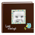 Pioneer - 2 Up Album - 200 4x6 Inch Photo Pockets - Printed Designer Frame Album - Baby Owl - Blue