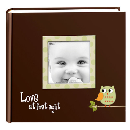 Pioneer - 2 Up Album - 200 4x6 Inch Photo Pockets - Printed Designer Frame Album - Baby Owl - Green