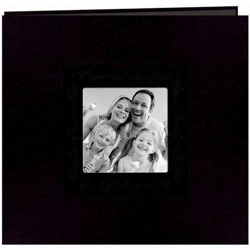 Pioneer - EZ Load Memory Album - 12 x 12 - 20 Top Loading Pages - Embossed Leatherette Script Frame - Black