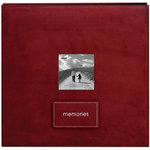 Pioneer - EZ Load Memory Album - 12 x 12 - 20 Top Loading Pages - Faux Suede - Memories Embroidered Patch - Raspberry
