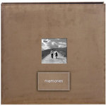Pioneer - EZ Load Memory Album - 12 x 12 - 20 Top Loading Pages - Faux Suede - Memories Embroidered Patch - Tan