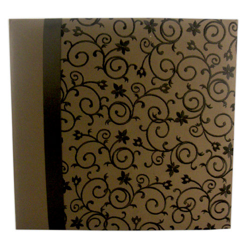 Pioneer - EZ Load Memory Album - 12 x 12 - 20 Top Loading Pages - Embroidered Fabric Scroll Ribbon - Brown