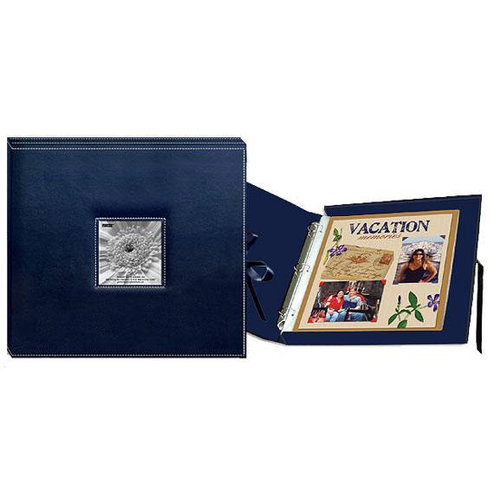 Pioneer - 12x12 Sewn Scrapbook Box - Stitched - Navy Blue