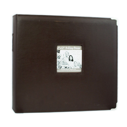 Pioneer - D-Ring Binder - 12 x 12 Sewn Frame Scrapbook - Brown