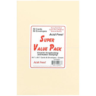 Paper Accents - Super Value Card and Envelope Pack - 4.25 x 5.5 - Cream