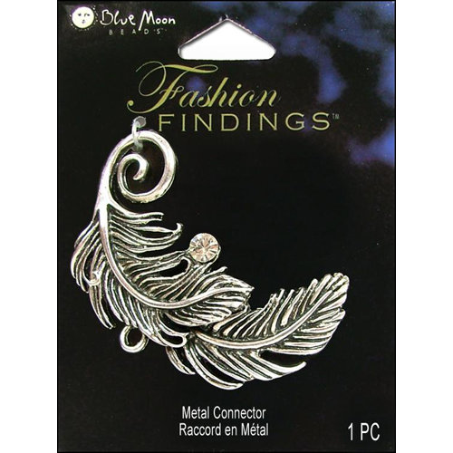 Blue Moon Beads - Fashion Findings - Metal Jewelry Connector - Feather - Silver