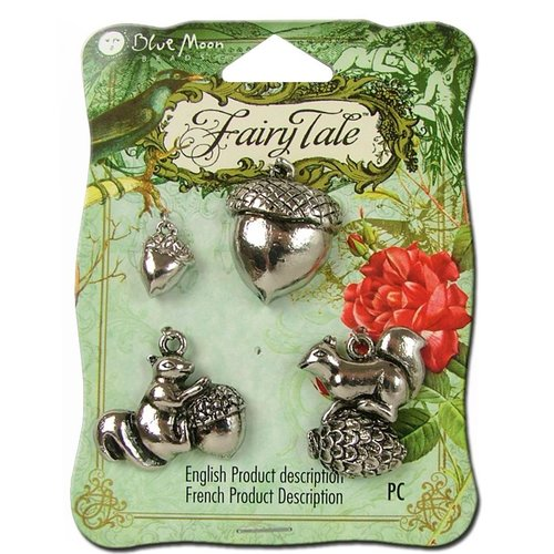 Blue Moon Beads - Fairy Tale - Metal Jewelry Charm - Squirrel Acorn 1 - Antique Silver