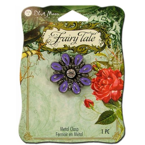 Blue Moon Beads - Fairy Tale - Metal Jewelry Clasp - Flower - Purple and Black Nickel