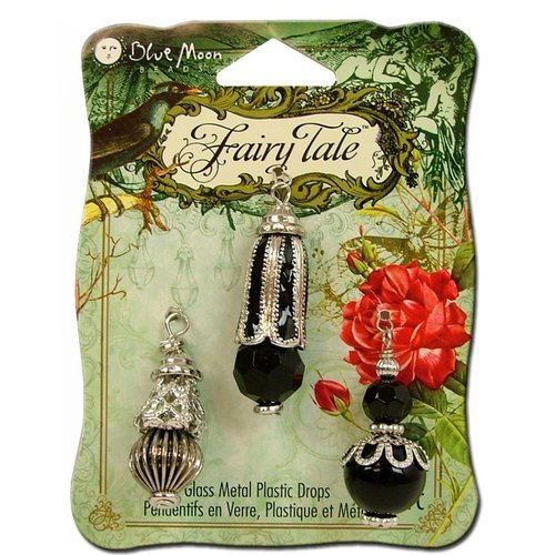 Blue Moon Beads - Fairy Tale - Glass Metal and Plastic Jewelry Drop - Black and Silver