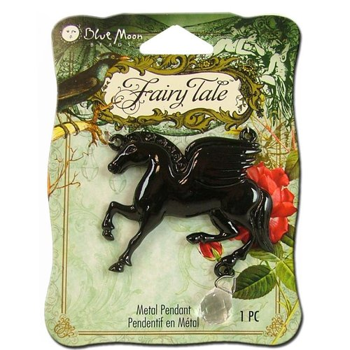 Blue Moon Beads - Fairy Tale - Metal Jewelry Pendant - Flying Horse - Black