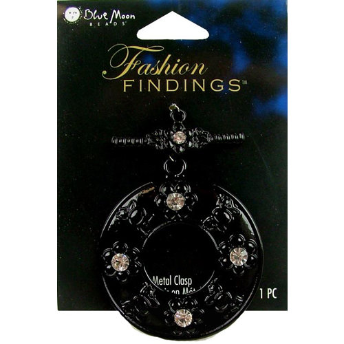 Blue Moon Beads - Fashion Findings - Metal Jewelry Clasp - Fancy Round Flower - Black