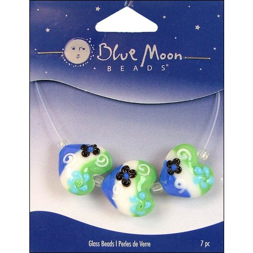 Blue Moon Beads - Art Glass - Jewelry Beads - Heart - Stripe - Flower - Multi 1