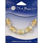 Blue Moon Beads - Art Glass - Jewelry Beads - Oval - Swirl - White Clear and Gold