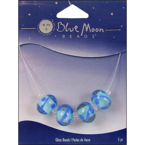 Blue Moon Beads - Art Glass - Jewelry Beads - Round - Swirl - Clear Blue