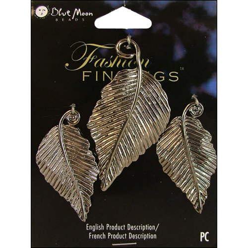 Blue Moon Beads - Fashion Findings - Metal Jewelry Charm - Leaves - Antique Silver