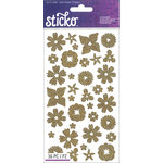 EK Success - Sticko - Glitter Stickers - Flowers Gold